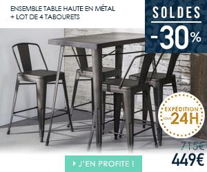 Bon plan table haute en métal + 4 tabourets