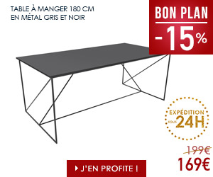 Bon plan table à manger 180 cm métal