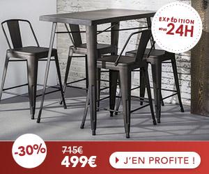 Ensemble table haute en métal + lot de 4 tabourets