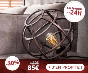 Lampe de table industrielle 33x33x30 cm en métal cuivré