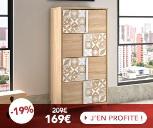 Chiffonnier 4 tiroirs décor chêne et carreaux de ciment - CALVI