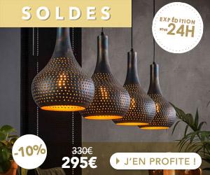 Suspension industrielle 4 lampes coniques 130x150 cm en métal noir