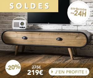 Meuble TV 1 tiroir 120x35x36 cm naturel et noir - ANNY