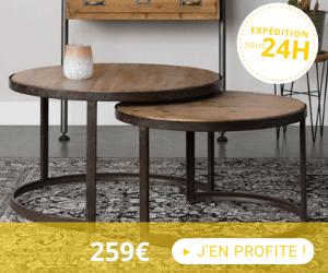 Lot de 2 tables basses rondes 74 et 61 cm en sapin et métal