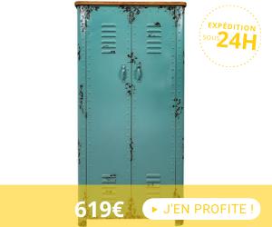 Armoire industrielle 2 portes 75x38x153 cm en sapin et fer bleu