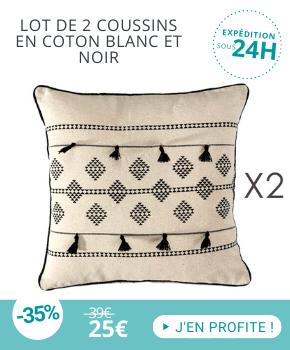 Coussins coton noir et blanc