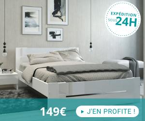 Lit 140x190 cm avec décor blanc brillant - gamme SOFI