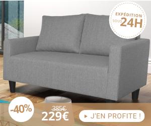 Canapé 2 places avec un effet chiné - coloris gris