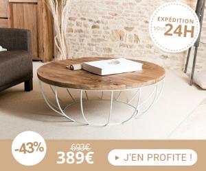 Table basse coque blanche 100x100 cm en teck recyclé - APPOLINE