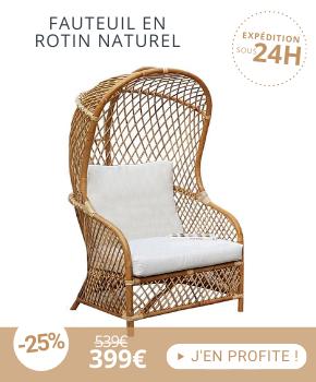 Fauteuil 75x71x162,5 cm en rotin naturel et coussin blanc