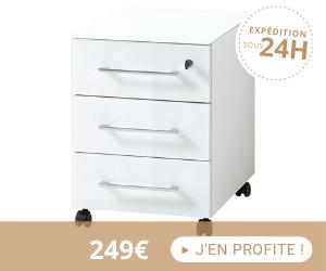 Caisson 3 tiroirs à roulettes 40x50x55 cm blanc - FANCY