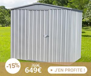 Garage avec 1 porte 4,93 m2 en métal coloris gris