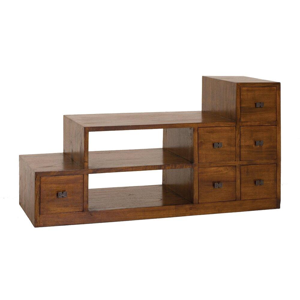 Meuble exotique - Meuble TV escalier 6 tiroirs en bois - VOTARA photo 1