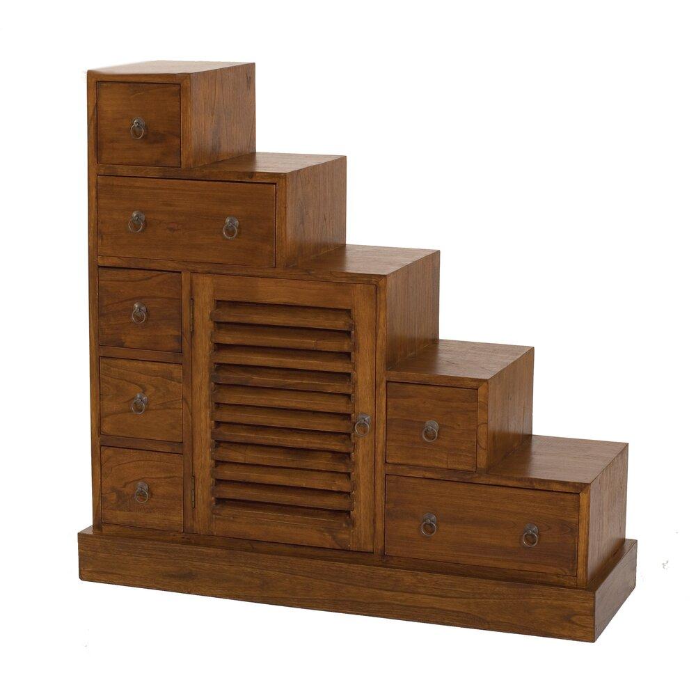 Bibliothèque - Etagère - Meuble escalier 1 porte et 7 tiroirs en bois - VOTARA photo 1