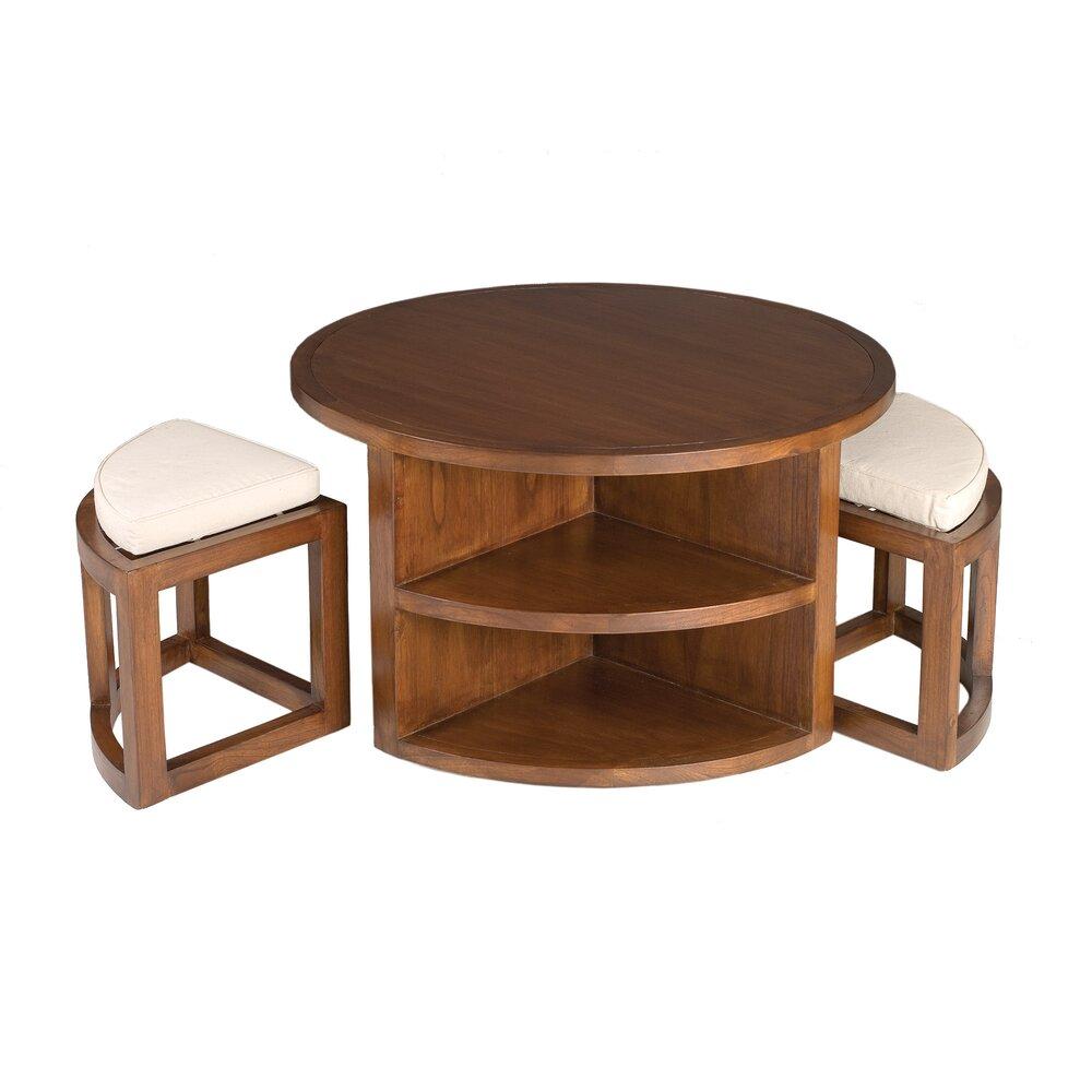Meuble astucieux - Table basse ronde avec  2 tabourets en bois - VOTARA photo 1