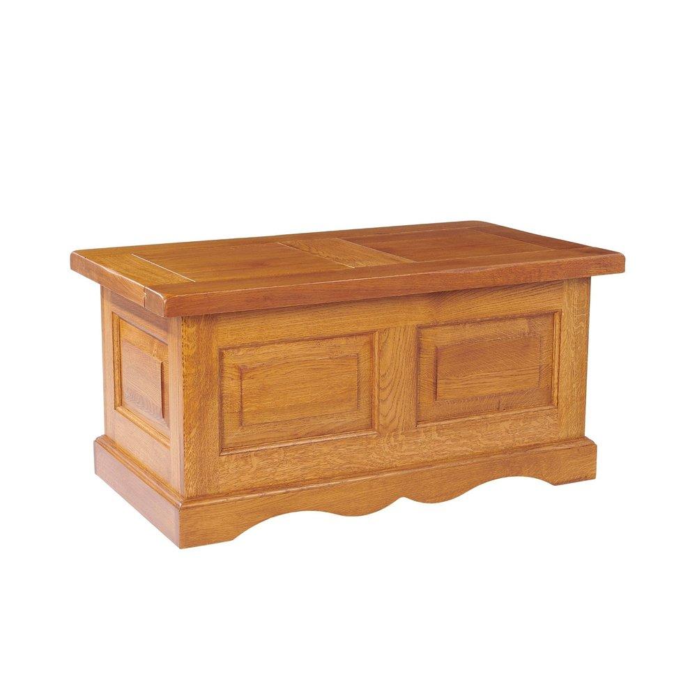 Table basse - Table basse coffre 100x55x48 cm en chêne moyen - HELENE photo 1