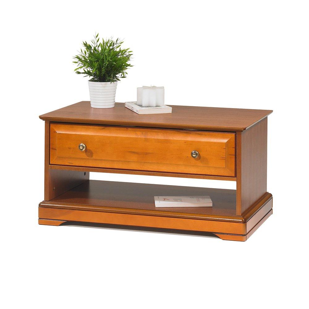 Table basse  - Table basse 1 tiroir en finition merisier - FLORIE photo 1