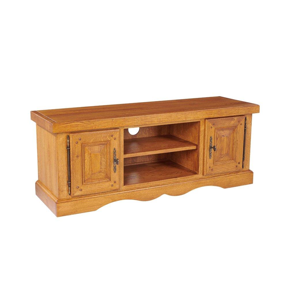 Meuble TV - Meuble TV bas 2 portes en chêne moyen - HELENE photo 1