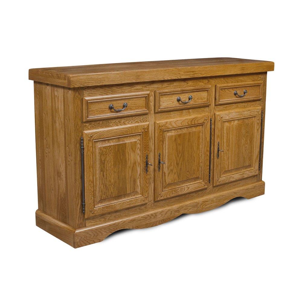Buffet - vaisselier - Bahut 3 portes et 3 tiroirs en chêne moyen - HELENE photo 1
