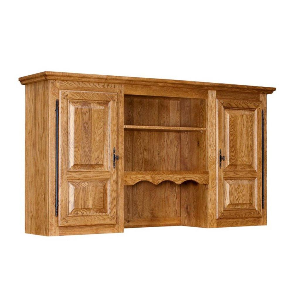 Buffet - vaisselier - Vaisselier 180 cm pour bahut 3 portes en chêne moyen - HELENE photo 1