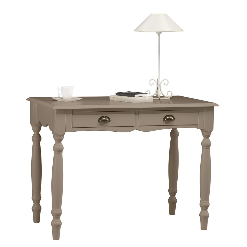 Bureau - Table àécrire 2 tiroirs taupe charme - AUTHENTIC TAUPE photo 1