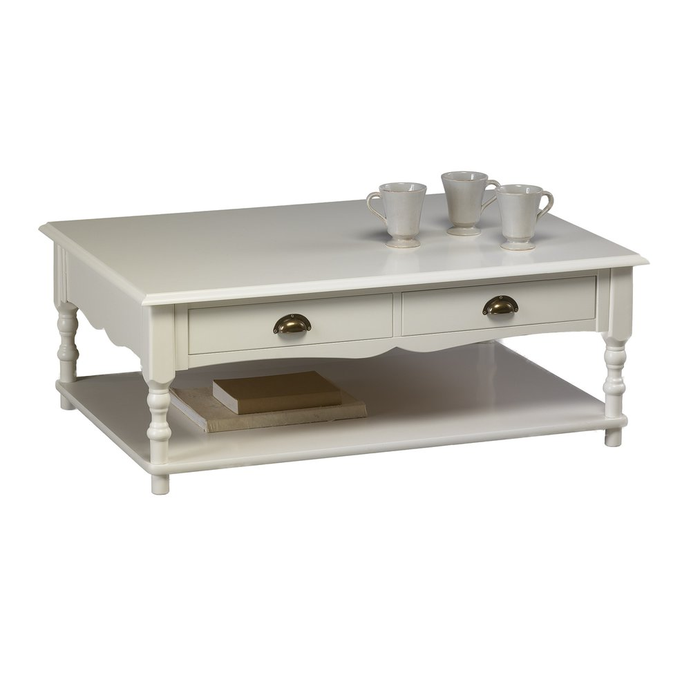 Meuble charme - Table Basse Blanche de Style Anglais photo 1