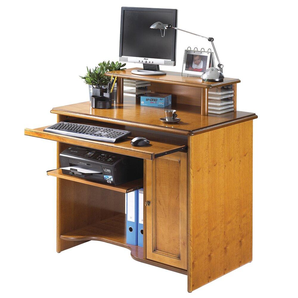 Bureau - Meuble informatique avec étagère teinte merisier photo 1