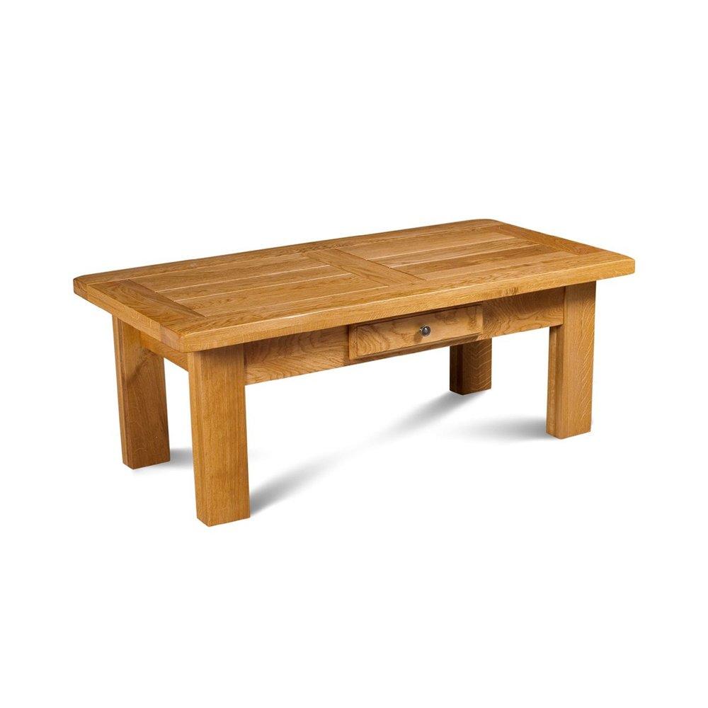 Table basse - Table basse rectangulaire 1 tiroir en chêne moyen - HELENE photo 1