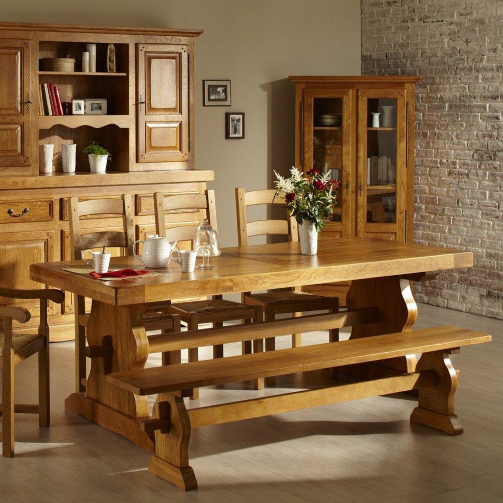 Table - Table d'Abbaye avec pied lyre 220 cm en chêne moyen - HELENE photo 1