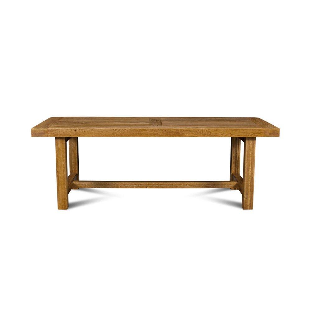 Table - Table de ferme avec pieds carrés 220 cm en chêne moyen - HELENE photo 1