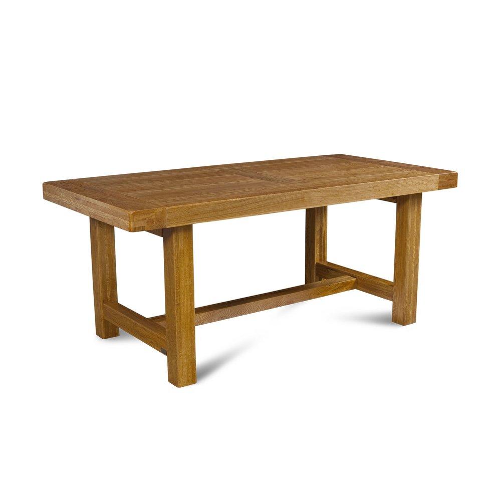 Table - Table de ferme avec pieds carrés 180 cm en chêne moyen - HELENE photo 1