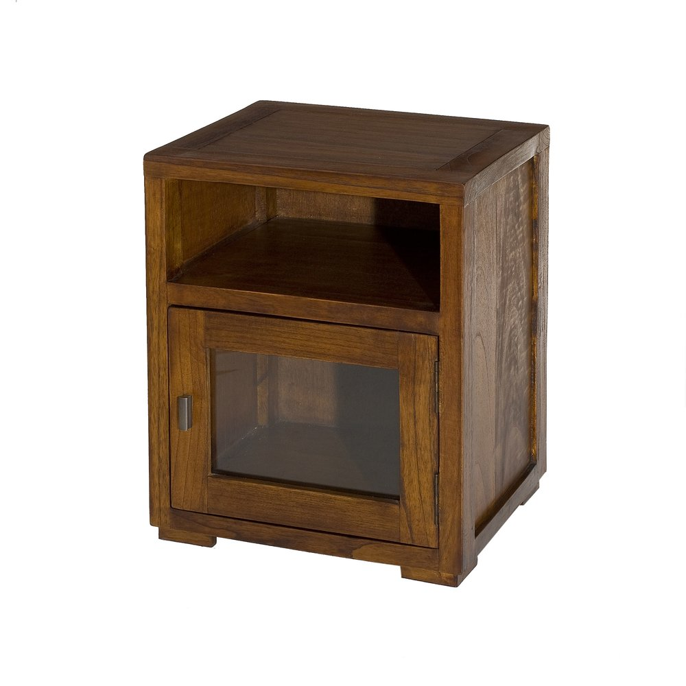 Chevet - Chevet 1 niche et 1 porte vitrée en bois - VOTARA photo 1