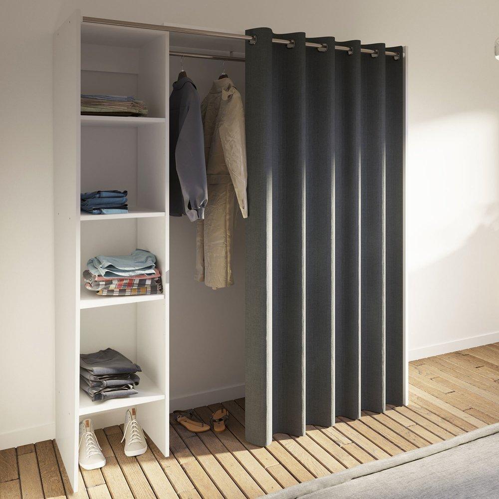 Chambre - Dressing extensible à rideau anthracite 1 colonne photo 1