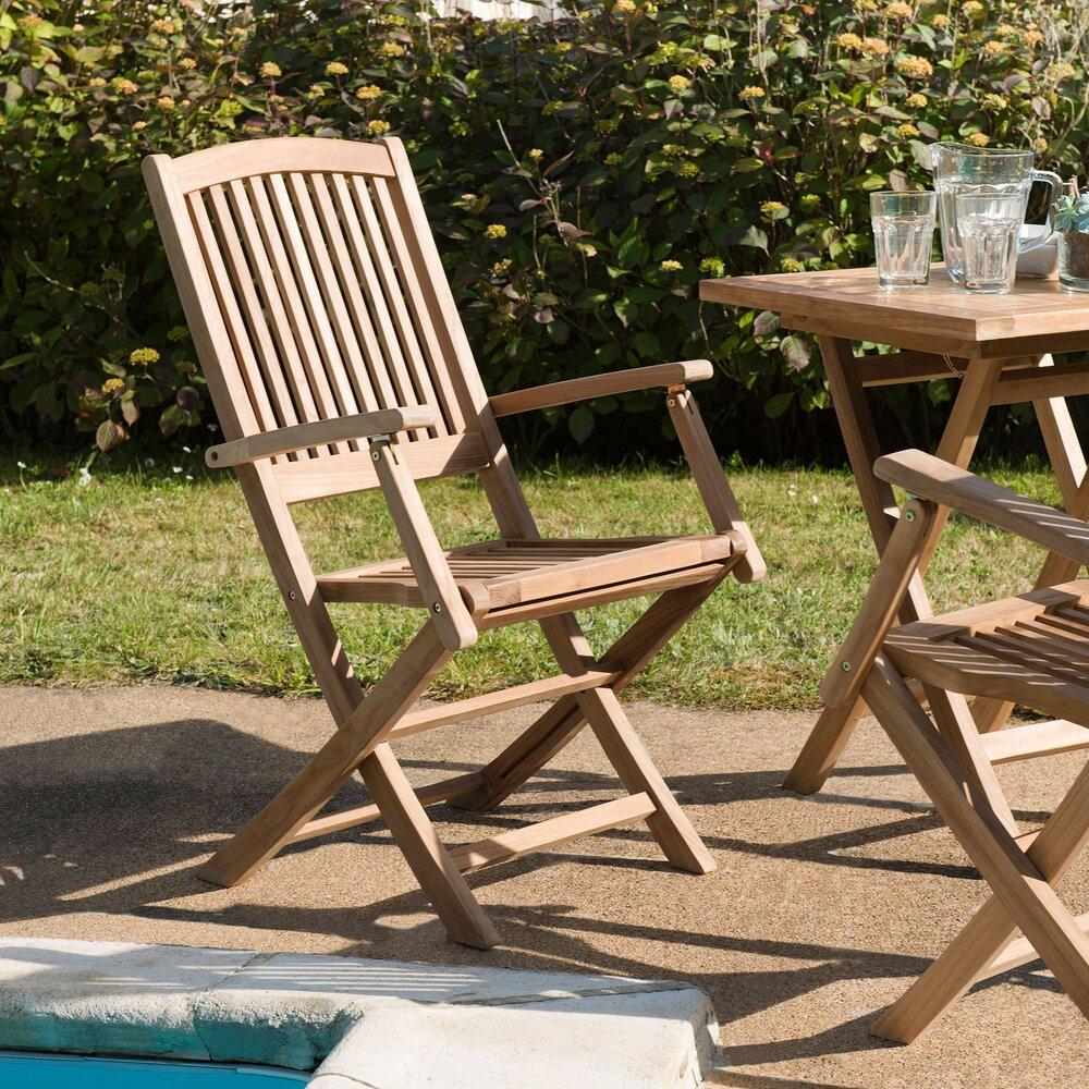 Meuble de jardin - Lot de 2 fauteuils en teck massif - GARDENA photo 1