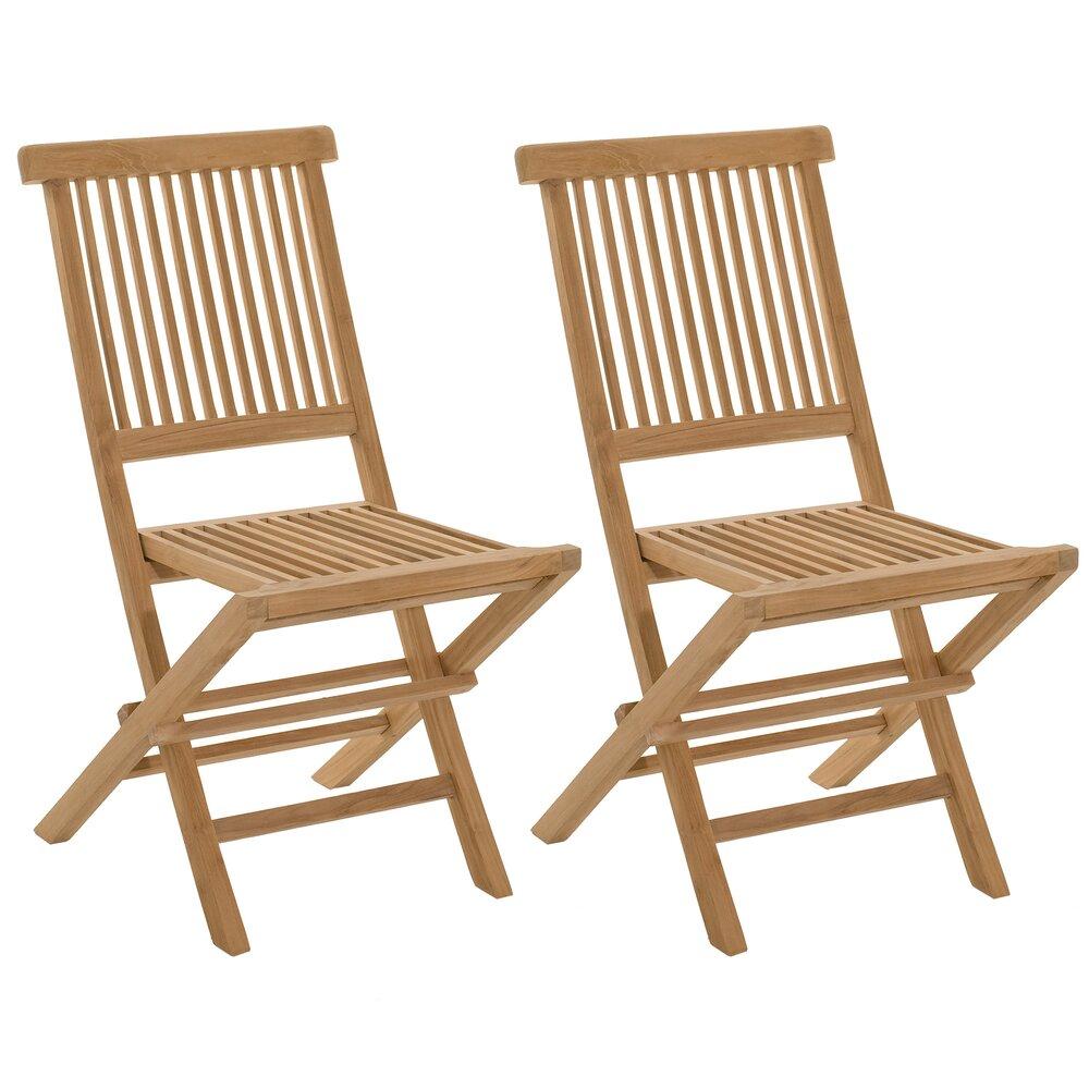 Meuble de jardin - Lot de 2 chaises pliantes en teck massif - GARDENA photo 1