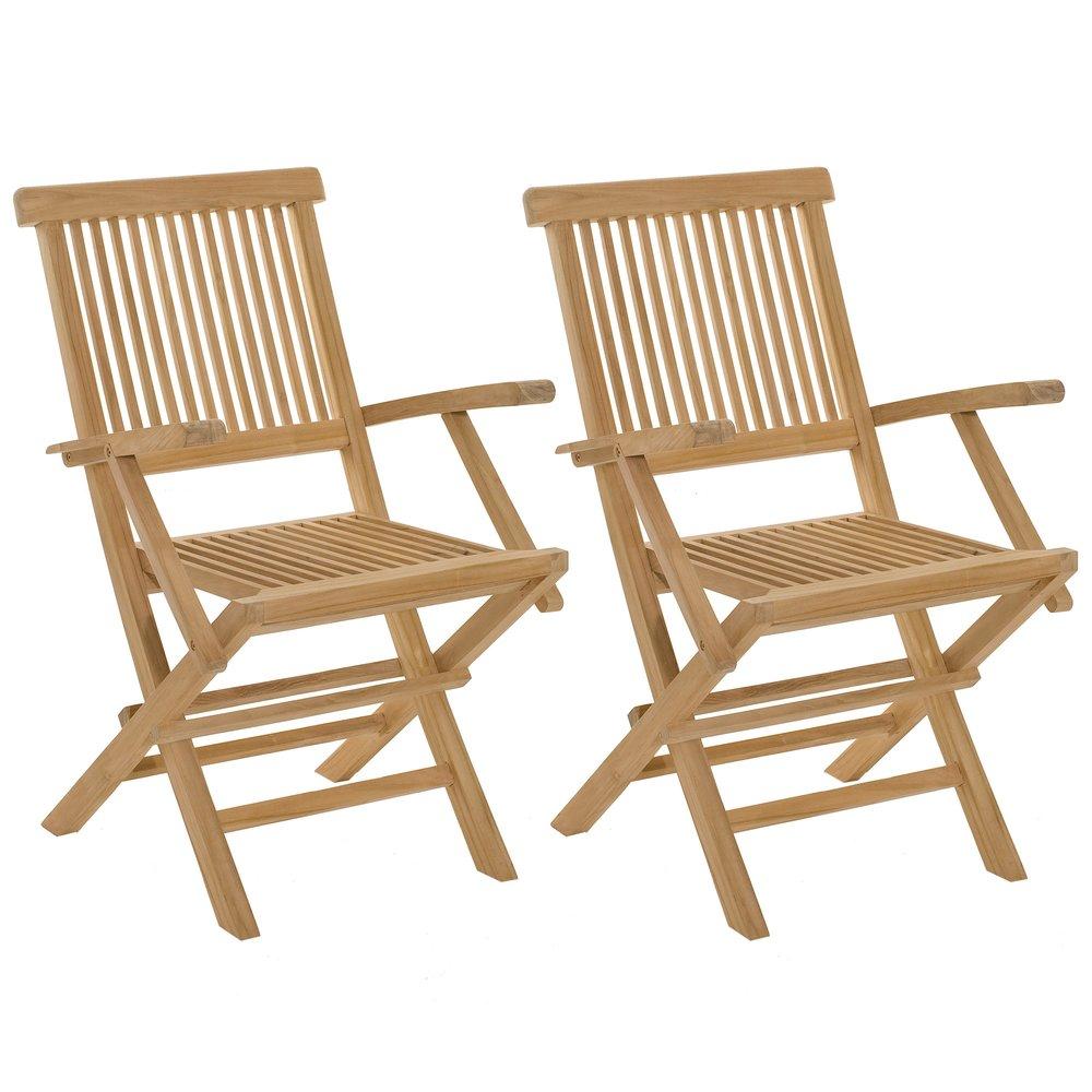 Meuble de jardin - lot de 2 fauteuils de jardin en teck massif - GARDENA photo 1