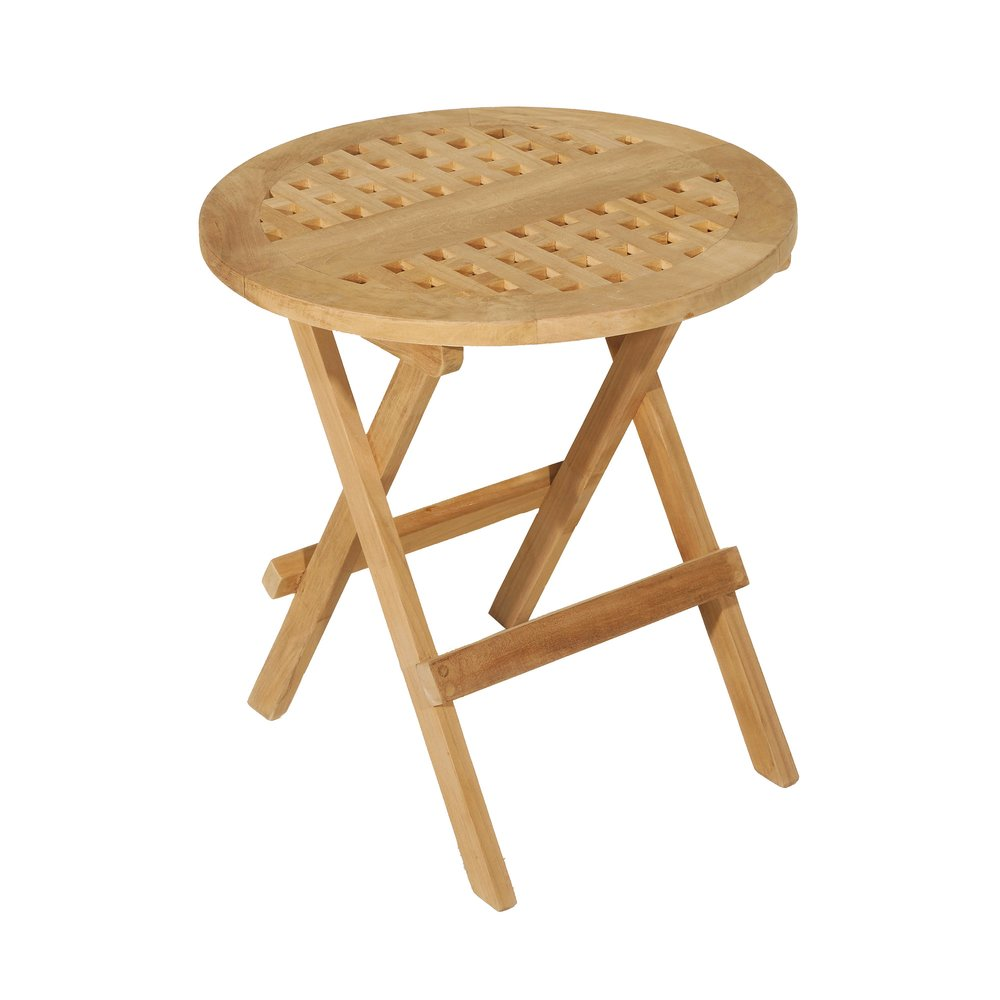 Meuble de jardin - Table de pique nique ronde 50 cm en teck - GARDENA photo 1