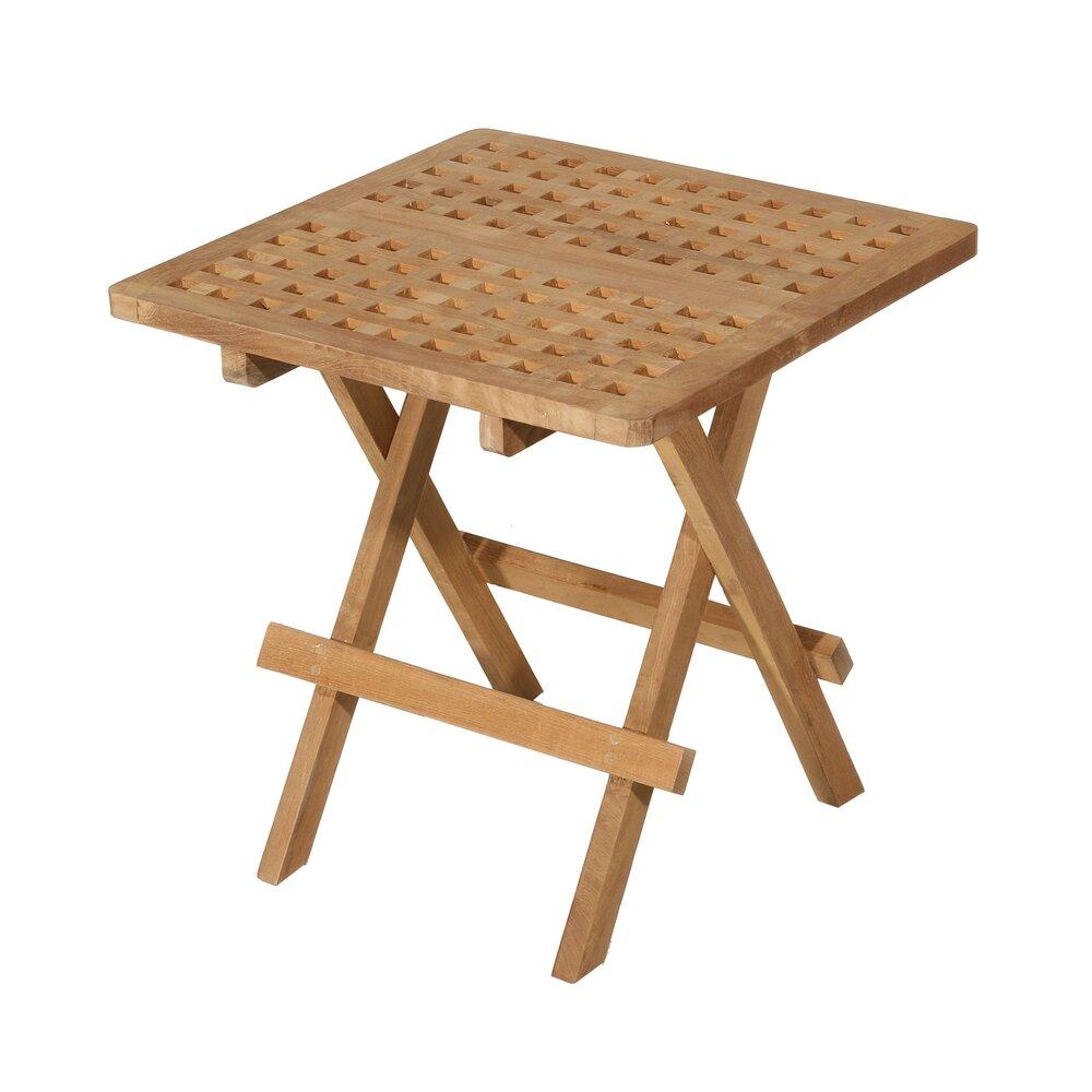 Meuble de jardin - Table de pique-nique carrée 50 cm en teck - GARDENA photo 1
