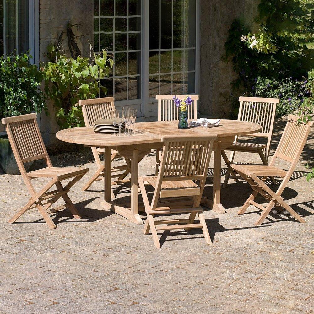 Meuble de jardin - Ensemble table et 6 chaises en teck photo 1