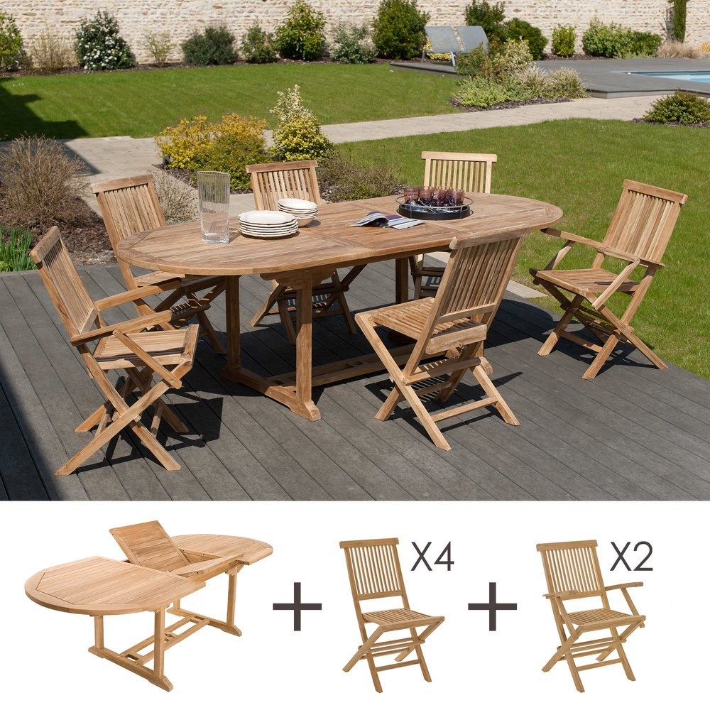 Meuble de jardin - Ensemble table ovale - 4 chaises - 2 fauteuils photo 1