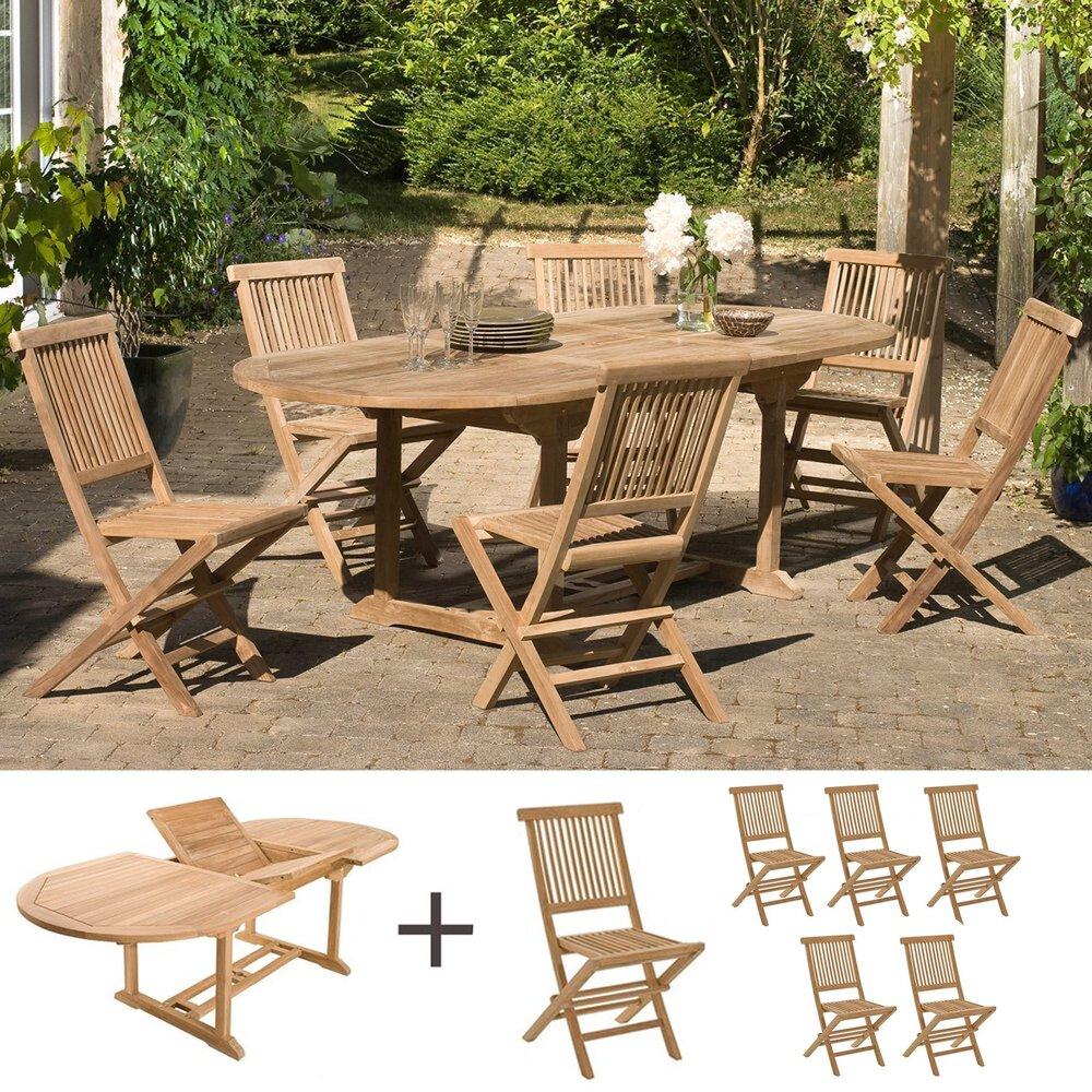 Meuble de jardin - Ensemble table ovale et 6 chaises en teck photo 1