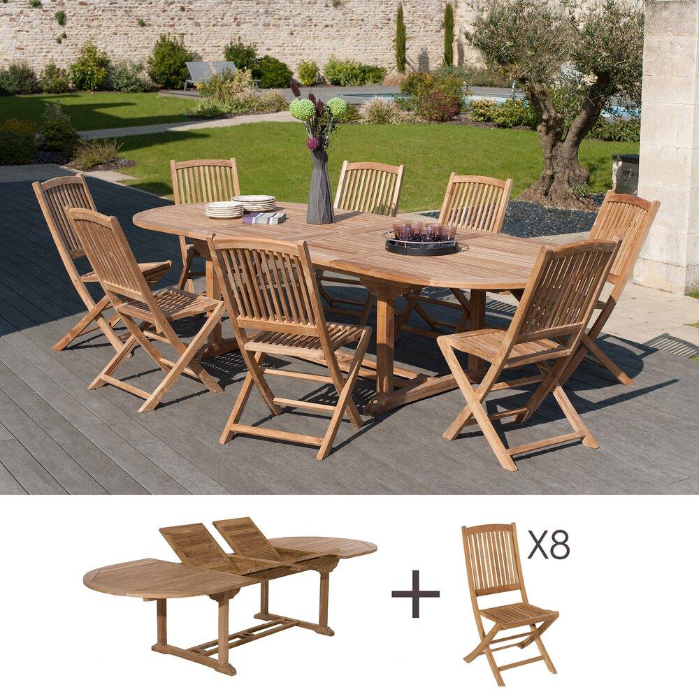 Meuble de jardin - Ensemble table ovale et 8 chaises en teck photo 1