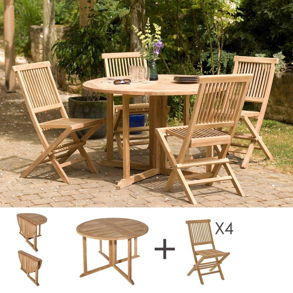 Meuble de jardin - Ensemble table ronde et 4 chaises en teck photo 1
