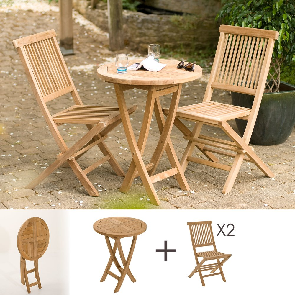 Meuble de jardin - Ensemble table ronde et 2 chaises en teck photo 1
