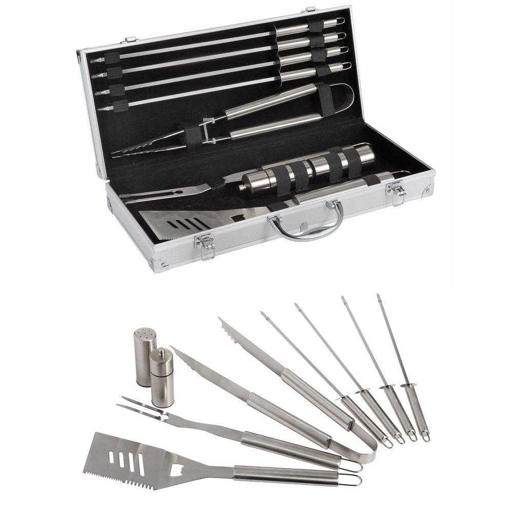 Accessoires barbecue - Valisette 9 pièces : fourchette, pince, spatule, 4 pics, sel et poivre photo 1