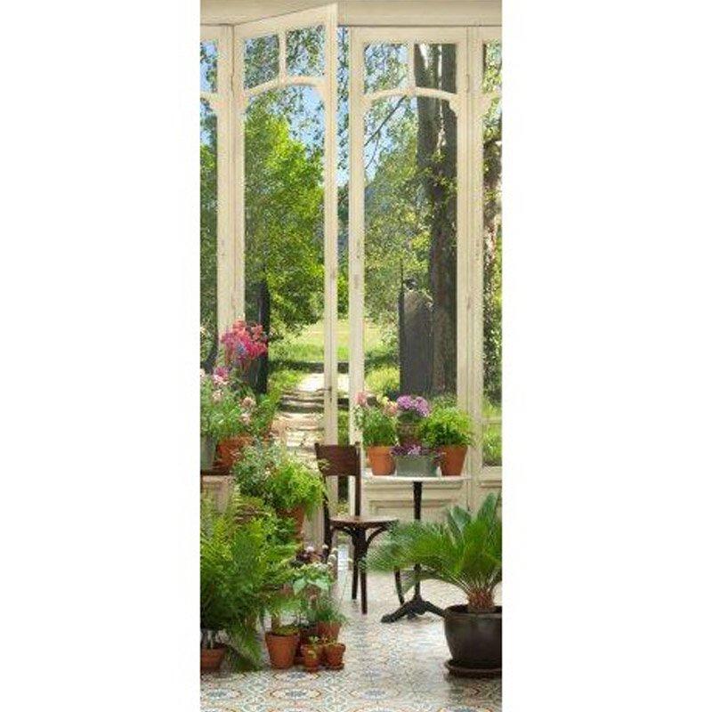 Sticker trompe l\'oeil 83x204cm motif jardin d\'hiver | Maison ...