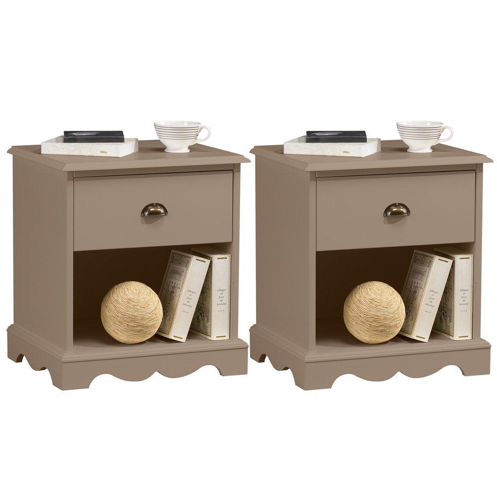Chambre - Lot de 2 chevets 1 tiroir de style charme taupe photo 1