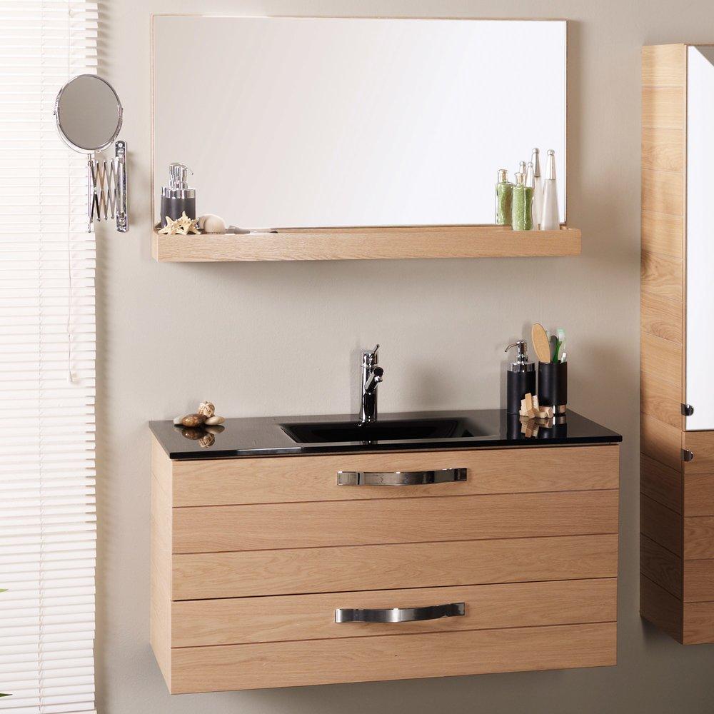 Meuble Pour Vasque Avec Colonne ensemble miroir+meuble avec vasque intégrée noire - largeur