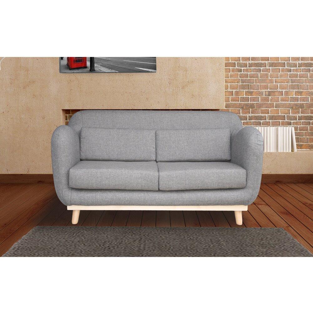 Canapé - Canapé 2 places fixes pieds bois en tissu - coloris gris photo 1