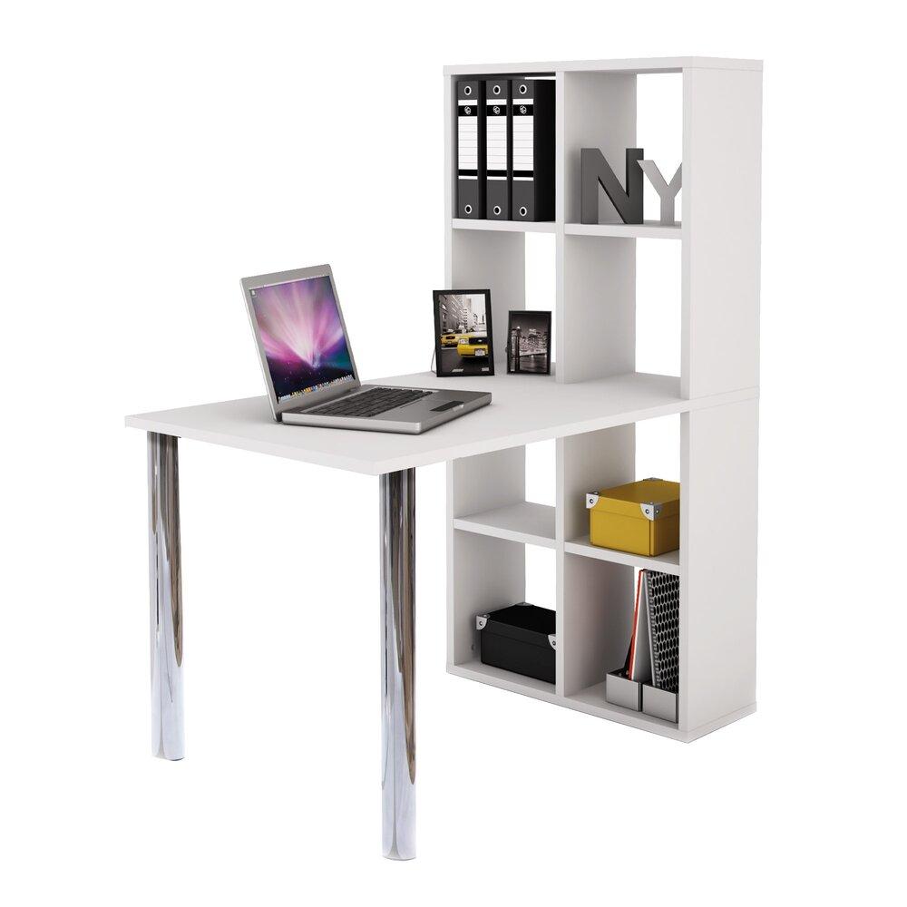 Bureau - Bureau bibliothèque coloris blanc et métal chromé photo 1